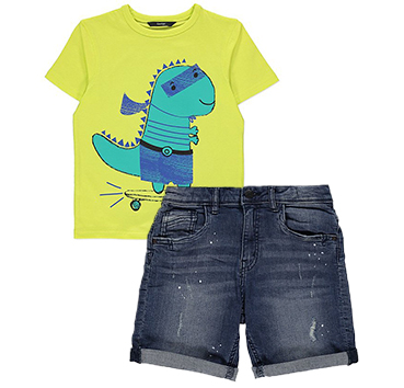 Add personality to their matching outfit with a dinosaur design T-shirt