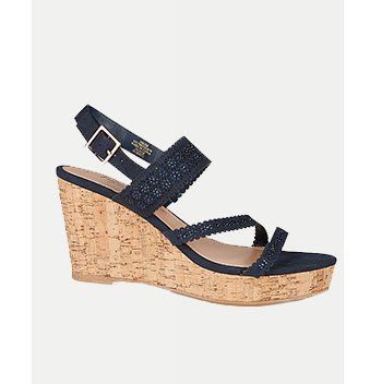 Designed with laser-cut straps, these navy wedges come with a buckle fastening for easy wear