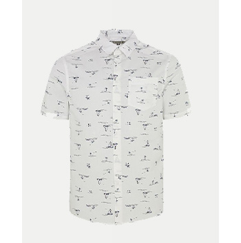 Lighten up with this printed shirt, finished with a smart collar and chest pocket