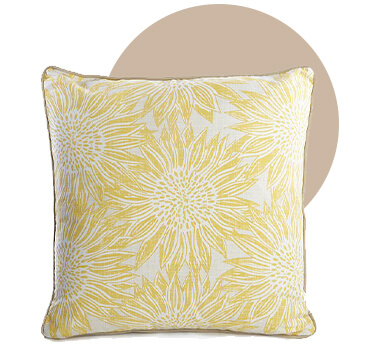 This cushion has a yellow sunflower print, perfect for adding fresh style to your garden
