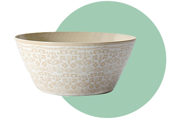 This yellow bowl is designed with our signature Sunbaked trend pattern
