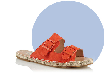 Be prepared for sunny seasons with these orange 2 strap sandals with faux suede upper