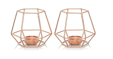 Tap into the geometric mood of the season with these 2 copper-toned metallic tealight holders