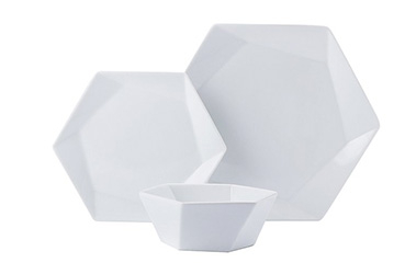Boasting a modern, artistic design, our hexagonal dinnerware set will add a sleek update to your kitchen