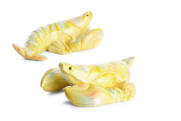 Accessorise shelves and coffee tables with this set of two ceramic lobster ornaments