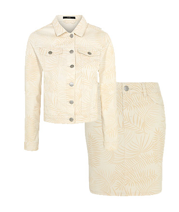 Rock a cream co-ord jacket and skirt designed with palm leaves