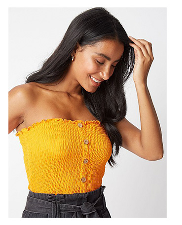 Add a pop of colour to your denim with a sunny yellow bandeau top
