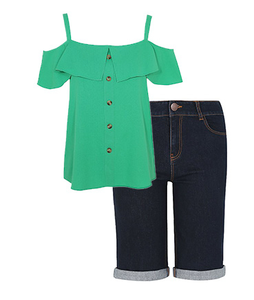 Break up your denim with a vibrant green cold shoulder top