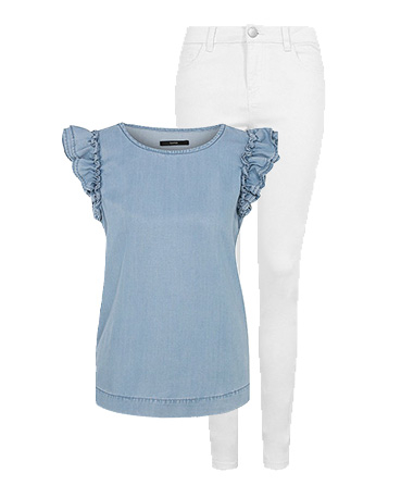 Switch up your look with a frilly denim top and white jeans