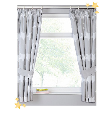 These soft grey curtains come designed with big white stars