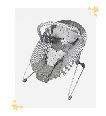 This grey bouncer has a comfy padded seat with a 3 point safety harness