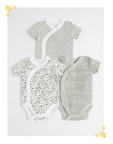 Stock up on their essentials with neutral grey bodysuits