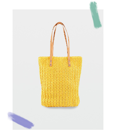 Add a pop of colour to your summer accessories with this bright yellow woven bag