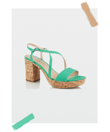 These green faux suede cork block heels are the perfect choice for sunny days