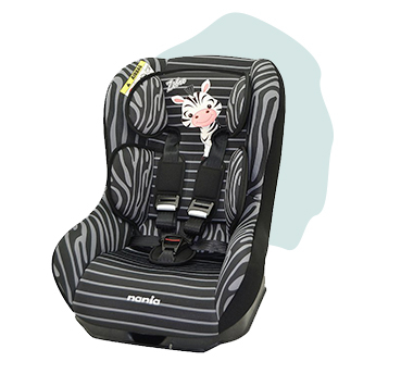 This car seat has 5 seat recline positions, a head support cushion and chest and buckle pads for comfort and safety