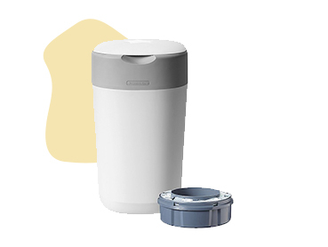 The Tommee Tippee nappy disposal bin seals each nappy for unbeatable odour block