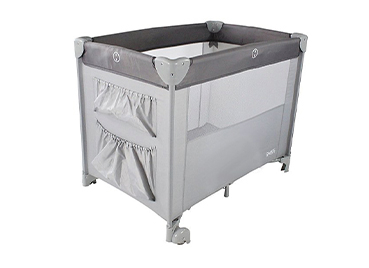 This folding travel cot features useful storage pockets with bassinette, mattress and bag included