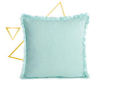 Add a bright burst of colour to your interior with this duck egg frayed cushion