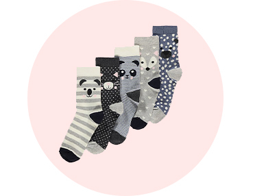 Stock up on essentials with this 5 pack of assorted socks designed with faces