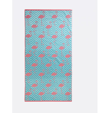 Featuring a display of pink flamingos, this blue chevron beach towel from is made from 100% cotton