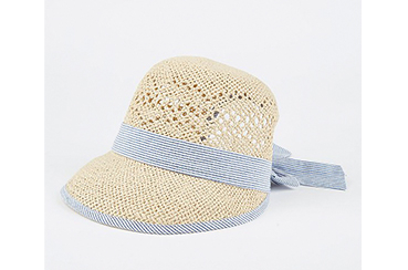 This cloche hat is created in a lightweight paper weave with a self-tie bow