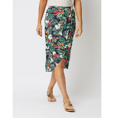 Pop on this tropical wrap skirt with a strappy cami and get ready to hit the beach