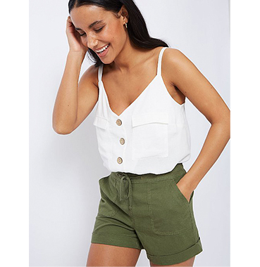 Match a crisp white top with khaki shorts