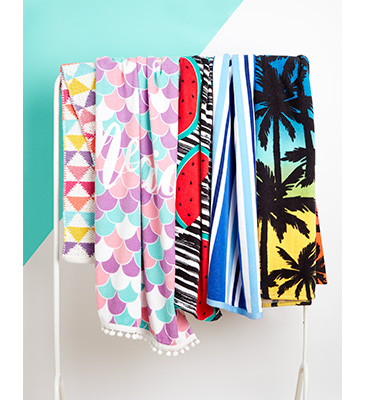 Get set for the beach or pool with our colourful beach towels