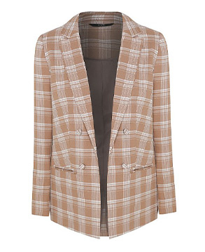 Add this beige check blazer to any ensemble for a sophisticated look
