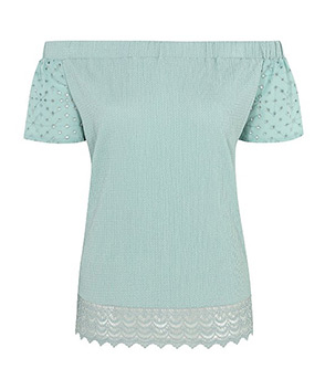 Detailed with a crochet trim and polka dot sleeves, this green Bardot top is a stylish choice for your wardrobe