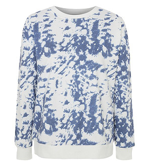 Designed with a blue and white tie-dye pattern, this jumper is perfect for layering up in