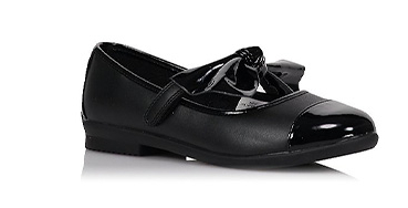 Designed with a large patent bow, these school shoes have a single hook-and-loop tape fastening strap for easy dressing