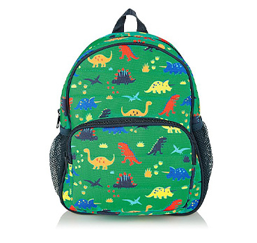 This green rucksack is designed with colourful dinosaurs all over - perfect for school and adventures