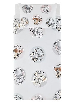 TDisney lovers will love this adorable duvet set, with classic characters such as Dumbo, Nala, Bambi and more