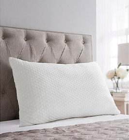 This summer cool-touch comfort pillow features a TrueTouch cooling cover