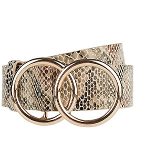 Designed with a snakeskin print and two gold-effect ring details, this belt will add a chic finish to any outfit