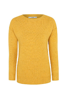 This yellow ribbed crew neck jumper will add a pop of colour to your new season wardrobe