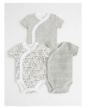 This pack of three grey short-sleeved bodysuits come in a range of patterns for a fun finish