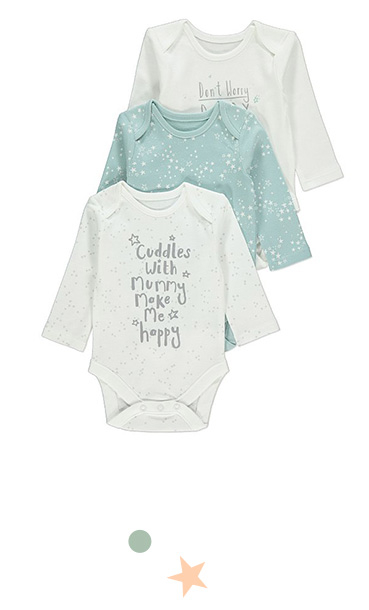 Keep them snug and sound with this pack of three long-sleeved bodysuits