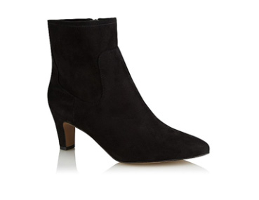 Black suede effect sock pointed ankle boots
