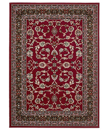 Traditional homemaker rug featuring intricate floral details on a rich red ground