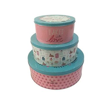 Three cake storage tins of varying size stacked