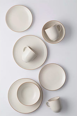 Birds eye view of dinner set including plates, side plates, bowls and mugs