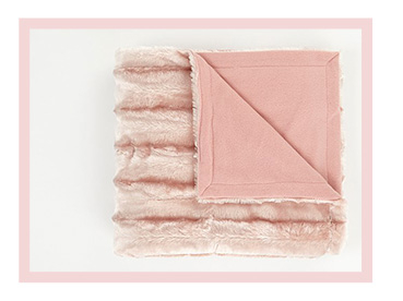 Pink Shimmering Ribbed Faux Fur Throw