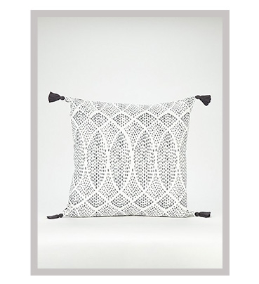 Charcoal Geometric Dotted Cushion with tassels on the corners