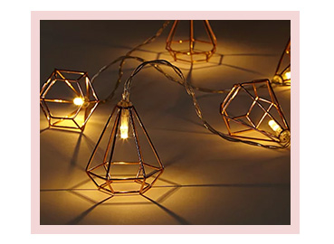 Copper-toned Geometric String Lights