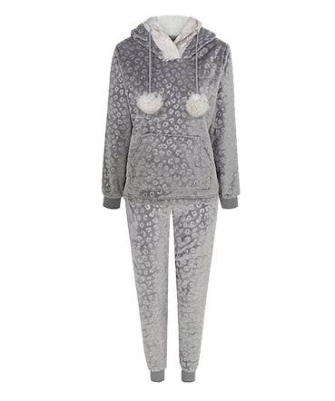 Grey Leopard Print Hooded Fleece Twosie