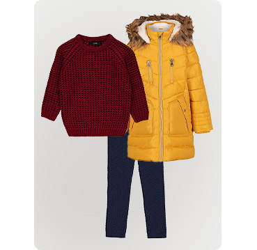 Product shots of kids' outfit - red chunky knit fisherman jumper, yellow parka and jeans