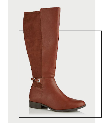 Product image of brown suede effect panel stretch knee high boots