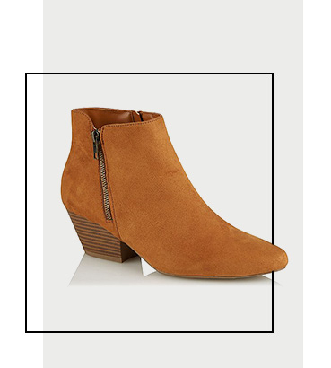 Product image of tan faux suede ankle boots
